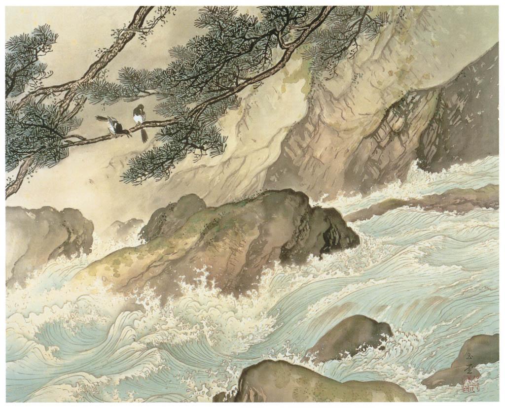 川合玉堂 – 奔湍 [没後50年 川合玉堂展:時を越えよみがえる日本の自然より] パブリックドメイン画像