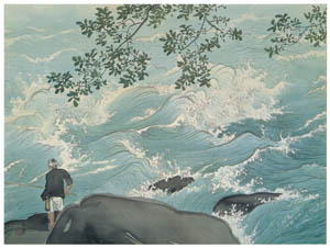 thumbnail Kawai Gyokudō – Mountain Stream Fishing [from The Exhibition of Kawai Gyokudō in memory of the 50th anniversary after his death]