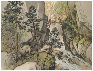 thumbnail Kawai Gyokudō – Cherry Blossoms in the Gorge [from The Exhibition of Kawai Gyokudō in memory of the 50th anniversary after his death]