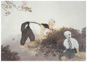 川合玉堂 – 茶摘 [没後50年 川合玉堂展:時を越えよみがえる日本の自然より]のサムネイル画像