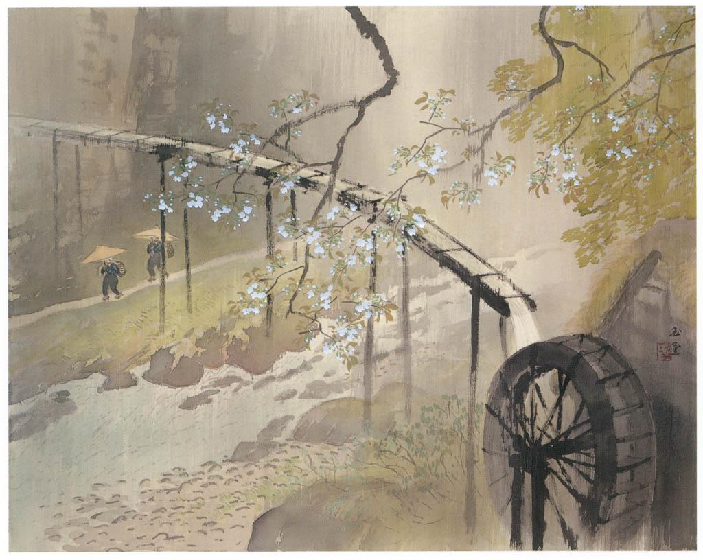 川合玉堂 – 暮春の雨 [没後50年 川合玉堂展:時を越えよみがえる日本の自然より] パブリックドメイン画像