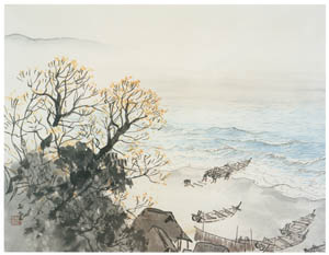 thumbnail Kawai Gyokudō – The Seashore in Late Autumn [from The Exhibition of Kawai Gyokudō in memory of the 50th anniversary after his death]