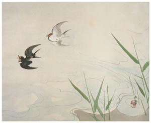 thumbnail Kawai Gyokudō – Four Water Themes: Flying Swallows [from The Exhibition of Kawai Gyokudō in memory of the 50th anniversary after his death]