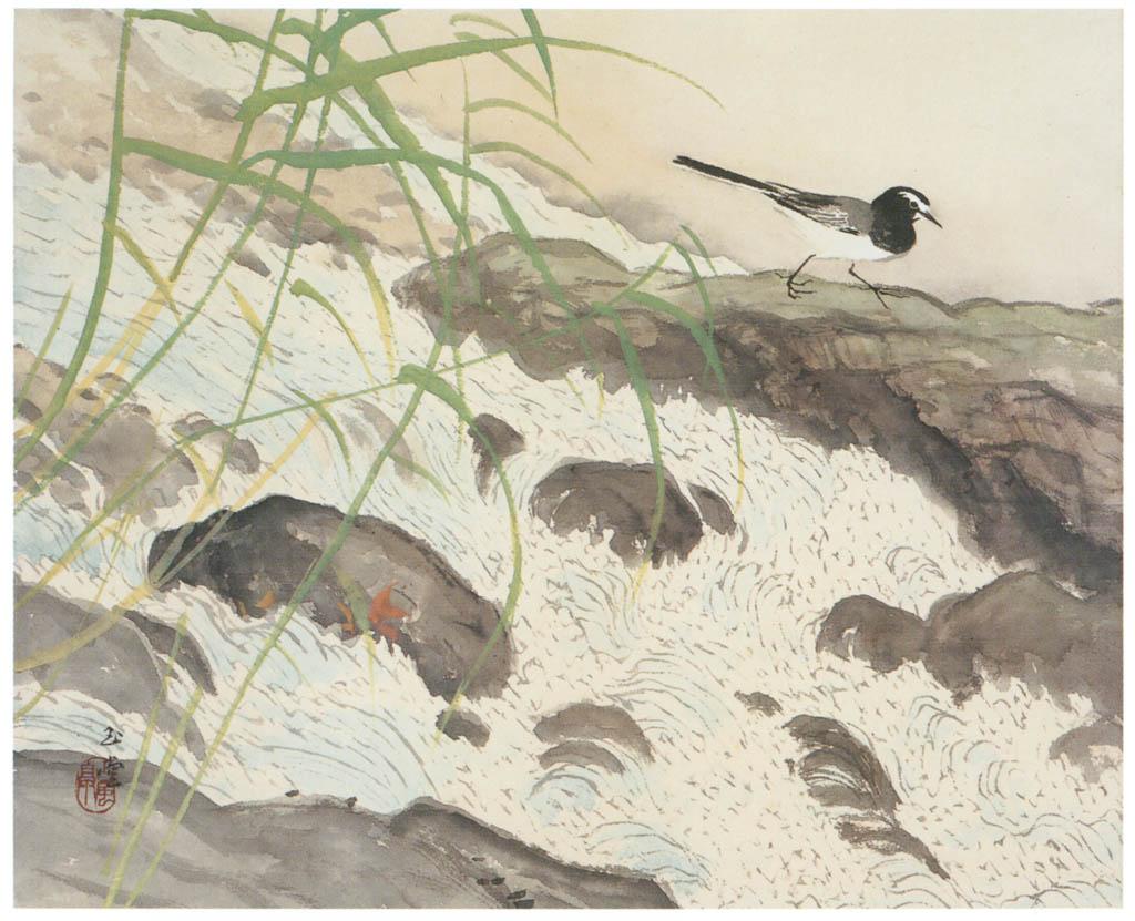 川合玉堂 – 水四題: 鶺鴒 [没後50年 川合玉堂展:時を越えよみがえる日本の自然より] パブリックドメイン画像