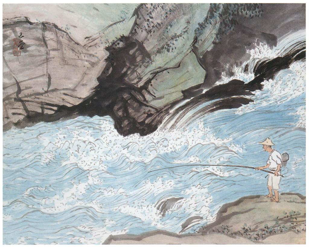 川合玉堂 – 鮎釣 [没後50年 川合玉堂展:時を越えよみがえる日本の自然より] パブリックドメイン画像