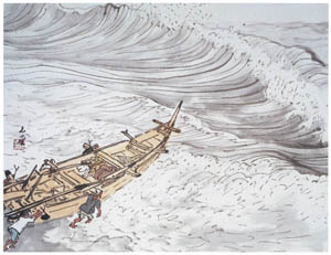 川合玉堂 – 出船 [没後50年 川合玉堂展:時を越えよみがえる日本の自然より]のサムネイル画像