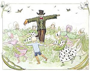 thumbnail Elsa Beskow – Plate 7 [from Little Lasse in the garden]