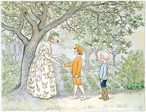 thumbnail Elsa Beskow – Plate 8 [from Little Lasse in the garden]