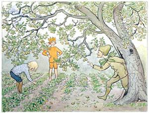thumbnail Elsa Beskow – Plate 12 [from Little Lasse in the garden]