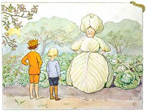 thumbnail Elsa Beskow – Plate 13 [from Little Lasse in the garden]