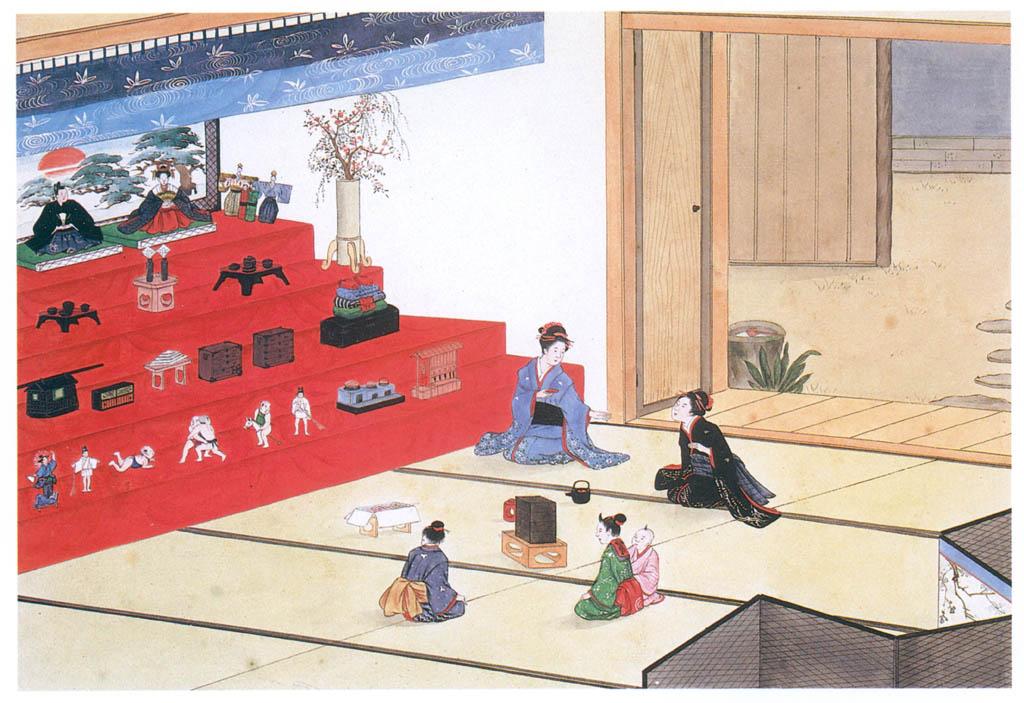 川原慶賀 – 長崎歳時記 雛祭り [江戸の日本を伝えるシーボルトの絵師 川原慶賀展より] パブリックドメイン画像