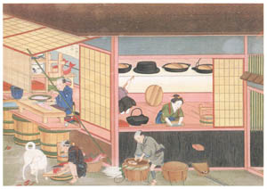 川原慶賀 – 人の一生 婚礼日の台所 [江戸の日本を伝えるシーボルトの絵師 川原慶賀展より]のサムネイル画像