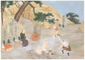 川原慶賀 – 人の一生 墓掘り [江戸の日本を伝えるシーボルトの絵師 川原慶賀展より]のサムネイル画像