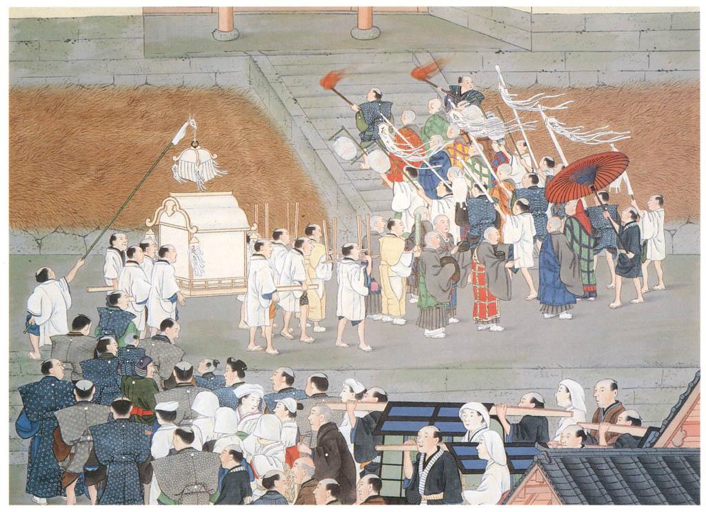 川原慶賀 – 人の一生 葬列 [江戸の日本を伝えるシーボルトの絵師 川原慶賀展より] パブリックドメイン画像
