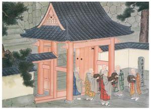 thumbnail Kawahara Keiga – Priests waiting for the funeral procession [from Catalogue of the Exhibition of Keiga Kawahara]