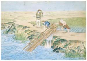 川原慶賀 – 水田灌漑の図 [江戸の日本を伝えるシーボルトの絵師 川原慶賀展より]のサムネイル画像