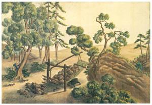 川原慶賀 – 熊罠図 [江戸の日本を伝えるシーボルトの絵師 川原慶賀展より]のサムネイル画像