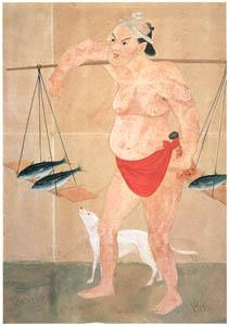 川原慶賀 – 魚売りの図 [江戸の日本を伝えるシーボルトの絵師 川原慶賀展より]のサムネイル画像
