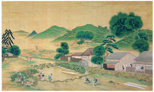 川原慶賀 – 農村の風景 [江戸の日本を伝えるシーボルトの絵師 川原慶賀展より]のサムネイル画像