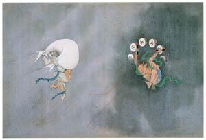 川原慶賀 – 風神・雷神図 [江戸の日本を伝えるシーボルトの絵師 川原慶賀展より]のサムネイル画像