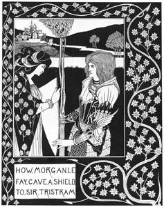 オーブリー・ビアズリー – いかにモルガン・ル・フェイはトリストラムに盾を与えたか [ピアズリー展より]のサムネイル画像