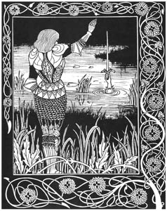 thumbnail Aubrey Beardsley – How Sir Belvidere cast the Sword Excalibur into the water [from Aubrey Beardsley Exhibition]