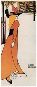 オーブリー・ビアズリー – 筆名・本名叢書のポスターをもとにした小さな広告用スリップ [ピアズリー展より]のサムネイル画像