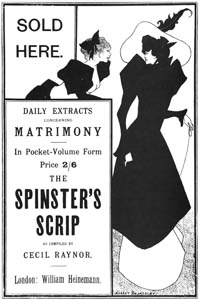 thumbnail Aubrey Beardsley – Sold Here…. Small poster for the Spinster's Scrip [from Aubrey Beardsley Exhibition]