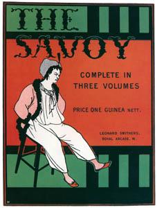オーブリー・ビアズリー – 全3巻本の『サヴォイ』 の宣伝用の小さなポスター [ピアズリー展より]のサムネイル画像