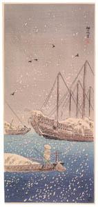 高橋松亭 – 佃の吹雪 [こころにしみるなつかしい日本の風景 近代の浮世絵師・高橋松亭の世界より]のサムネイル画像