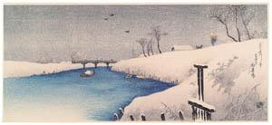 高橋松亭 – あやせ川の雪 [こころにしみるなつかしい日本の風景 近代の浮世絵師・高橋松亭の世界より]のサムネイル画像