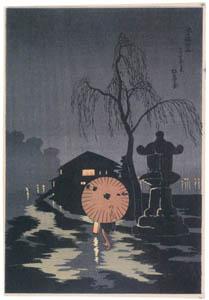 thumbnail Takahashi Shōtei – Rainy Night at Ikenohata [from Shotei (Hiroaki) Takahashi: His Life and Works]
