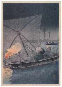 thumbnail Takahashi Shōtei – Net-Fishing at Etchūjima in the Night [from Shotei (Hiroaki) Takahashi: His Life and Works]