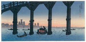 """thumbnail Takahashi Shōtei – Enjoying the Cool of the Evening at the Ohashi Bridge, """"The Collection of Scenic Places in the East Part of Tokyo"""" [from Shotei (Hiroaki) Takahashi: His Life and Works]"""