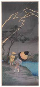 高橋松亭 – 立石の雷雨 [こころにしみるなつかしい日本の風景 近代の浮世絵師・高橋松亭の世界より]のサムネイル画像