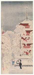 高橋松亭 – 浅草の雪 [こころにしみるなつかしい日本の風景 近代の浮世絵師・高橋松亭の世界より]のサムネイル画像