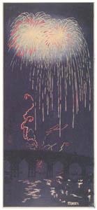 thumbnail Takahashi Shōtei – Fireworks at Ryōgoku [from Shotei (Hiroaki) Takahashi: His Life and Works]