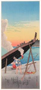 高橋松亭 – 品川夕なぎ [こころにしみるなつかしい日本の風景 近代の浮世絵師・高橋松亭の世界より]のサムネイル画像