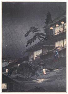 thumbnail Takahashi Shōtei – Rainy Night at the Dug-up Road [from Shotei (Hiroaki) Takahashi: His Life and Works]