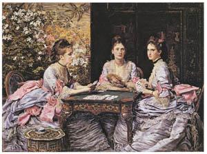 thumbnail John Everett Millais – Hearts are Trumps: Portraits of Elizabeth, Diana, and Mary, Daughters of Walter Armstrong [from John Everett Millais Exhibition Catalogue 2008]