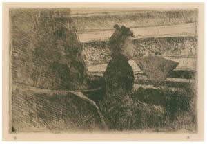 メアリー・カサット – 桟敷席の黒衣の女性、右向き [メアリー・カサット展 図録より]のサムネイル画像