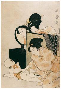 thumbnail Kitagawa Utamaro – Woman Grimacing in Mirror at Baby on Floor [from Mary Cassatt Retrospective]