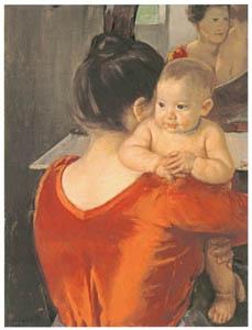 メアリー・カサット – 赤い胴着の女性と赤ん坊 [メアリー・カサット展 図録より]のサムネイル画像
