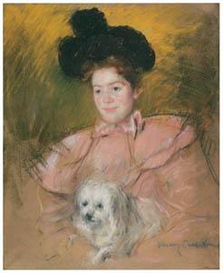 メアリー・カサット – 犬を抱くラズベリー色の服の女性 [メアリー・カサット展 図録より]のサムネイル画像