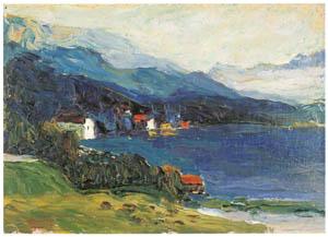 thumbnail Wassily Kandinsky – Kochel – Lake with Hotel Grauer Bär [from KANDINSKY]