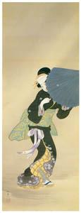 上村松園 – 吹雪美人図 [上村松園展 没後50年記念 美の精華より]のサムネイル画像