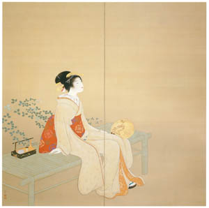 thumbnail Uemura Shōen – Looking up at the Rainbow (Left) [from Uemura Shōen Exhibition on the 50th Anniversary of Her Death]