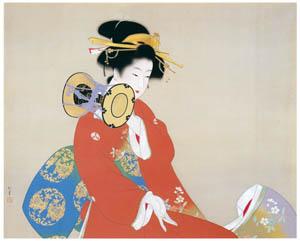 上村松園 – 鼓の音 [上村松園展 没後50年記念 美の精華より]のサムネイル画像