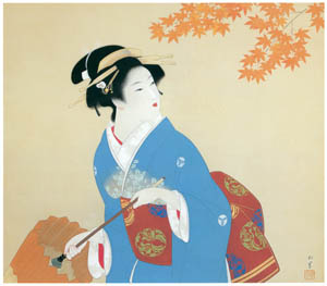 thumbnail Uemura Shōen – Drizzling Rain [from Uemura Shōen Exhibition on the 50th Anniversary of Her Death]