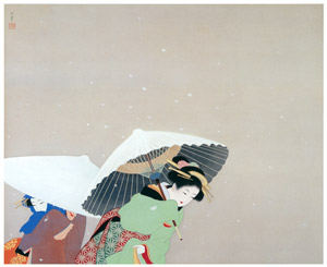 thumbnail Uemura Shōen – Large Snowflakes [from Uemura Shōen Exhibition on the 50th Anniversary of Her Death]